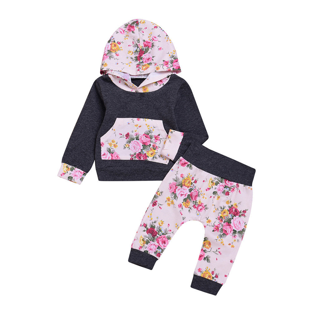 a0a1703f570 Best buy Wholesale 2 PCS Newborn Baby Clothing Girls Boys Fashion Pink  Floral Print Hooded Tops Pants Outfit Set Baby Girl Clothes 0 18M online  cheap