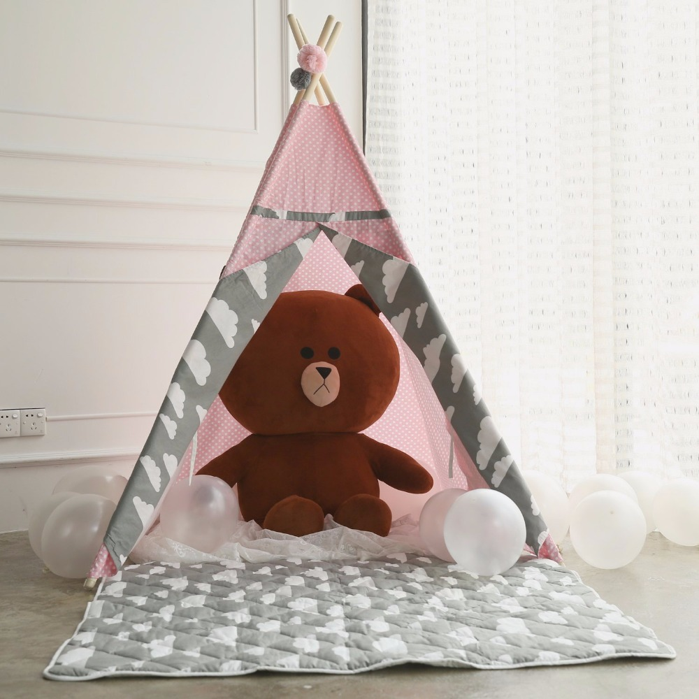 Pink Polka Dot Teepee Childrens Play Tent Kids Teepee Playhouse Tipi Tent