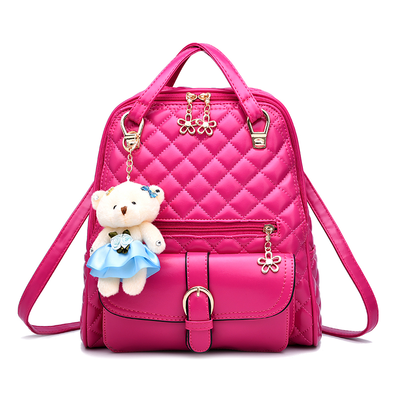 Size 30 27 12cm large capacity woman backpack 2017 new fashion diamond lattices solid color bag