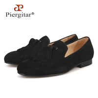 Piergitar 2017 men two color velvet shoes with new style green tassel luxurious prom and Banquet men dress loafers men's flats