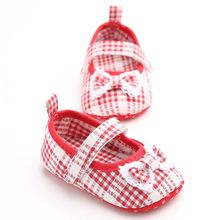 Newborn Baby Girls Spring Sweet Tartan Cotton Bow-knot Soft Sole Non-slip Kids Princess Shoes
