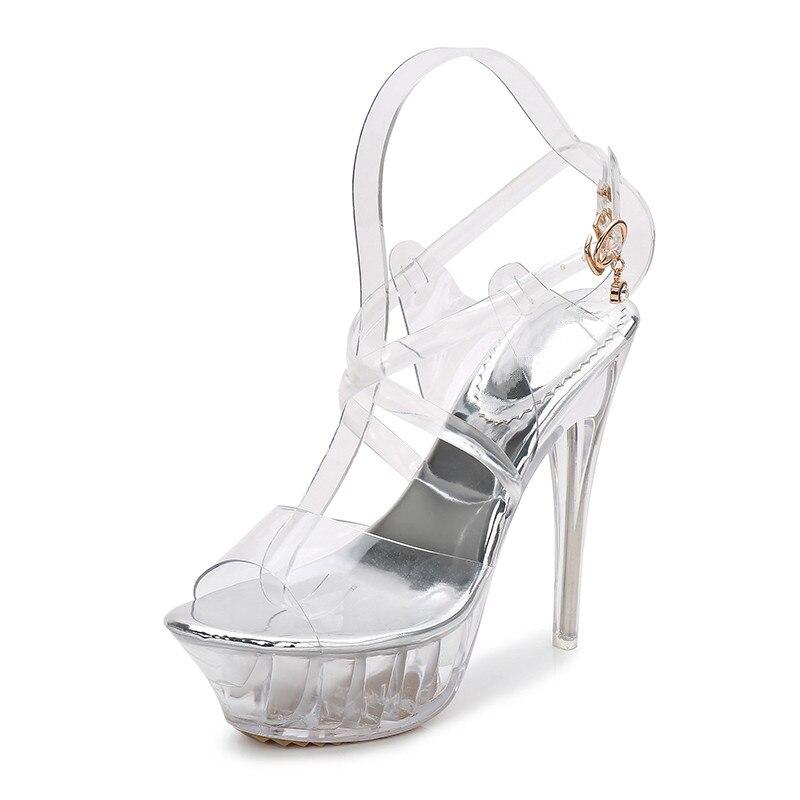 f045311489db45 Femmes D'été Talons Chaussures Mariage Danse Clair Extreme forme Sandales  Sandale a0035 Stiletto De Argent Mode Haut ...