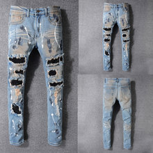 2019 Summer New Men Jeans,Blue Color High Quality Patchwork Casual Pants Slim Fit Brand Streetwear Stretch Biker Jeans Men