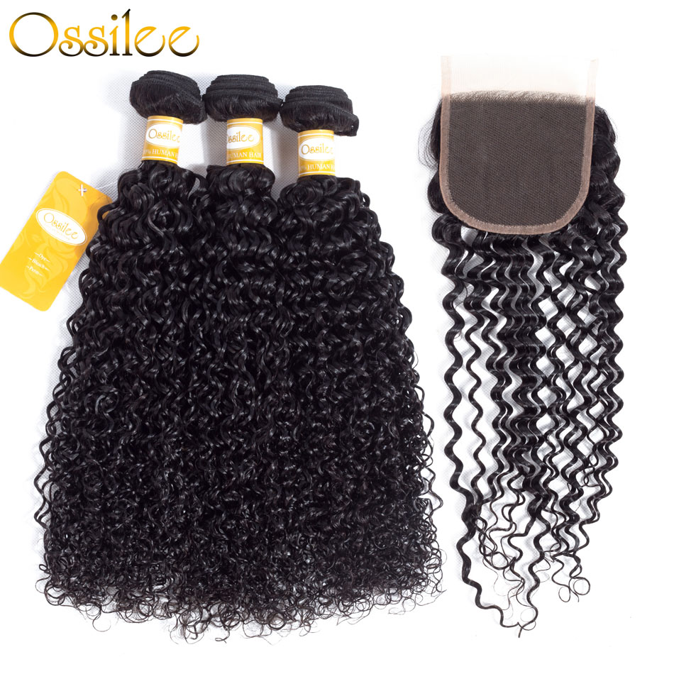 Ossilee Kinky Curly Hair Bundles with Closure Brazilian Human Hair 3 Bundles with Lace Clsoure 4pcs/lot Non Remy Hair Weaves