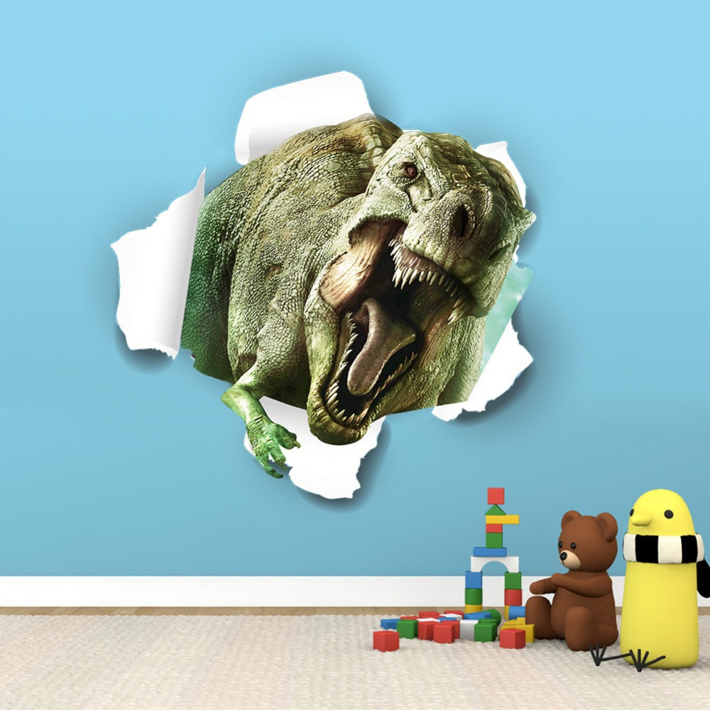 X008* home decoration new perspective Jurassic Park dinosaur wall 3D  stickers children's room bedroom backdrop