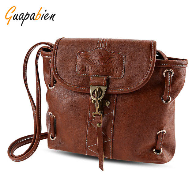 0c53a6afeb Guapabien Brand Leather Pothook Crossbody Messenger Bags Vintage Classic  Letter Print Women Shoulder Bag Small Bucket
