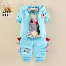 Autumn Winter Children's Clothes Boys Girls Thick Warm Clothes 1-4 Year Toddler Clothing Set Three-piece Suit Outfit Sets