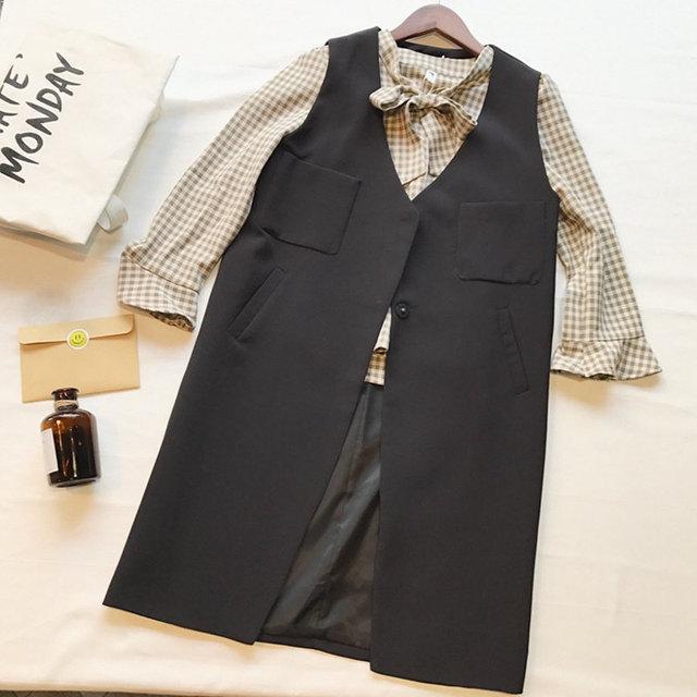 bf5d3d1f2 US $34.04 |2018 Spring Korean Women's Sleeveless Vest Jacket Single Button  Black Suit Long Vest Black Pockets Vests Female Long Waistcoats-in Vests &  ...