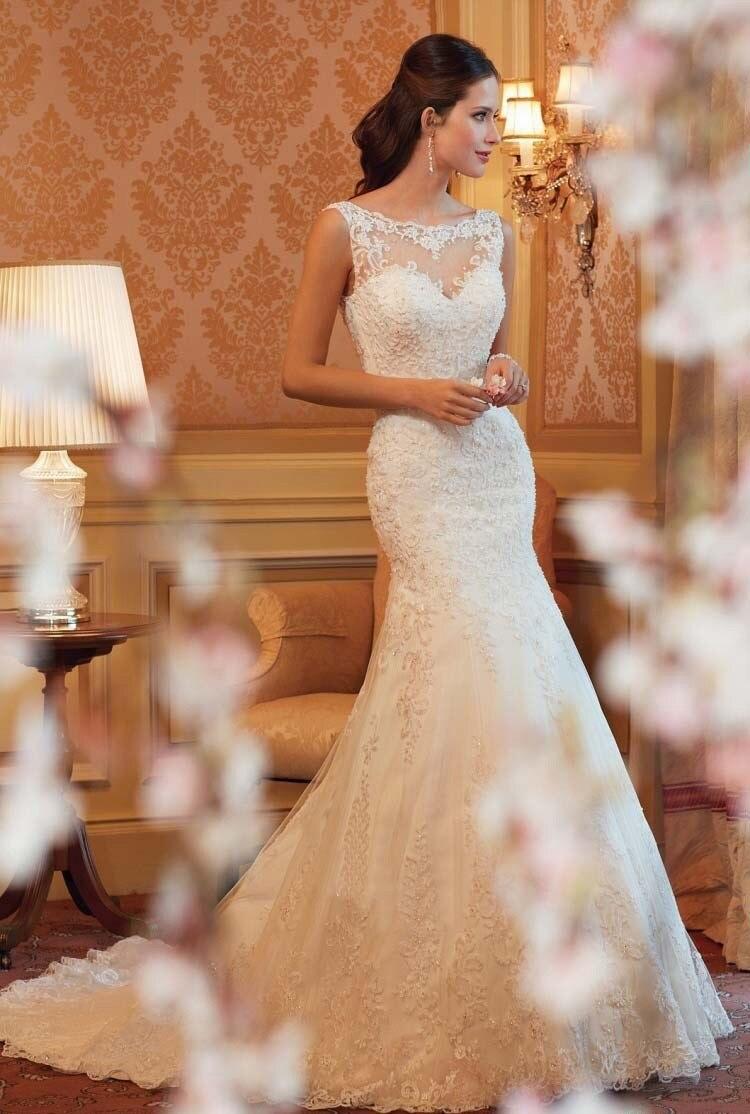 Cheap Lace Wedding Dress 2015 Mermaid Wedding Dres...