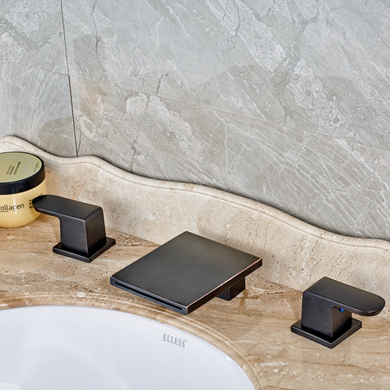 Modern Square Waterfall Bathroom Oil Rubbed Bronze Faucet Dual Handles Tub Spout allen roth brinkley handsome oil rubbed bronze metal toothbrush holder
