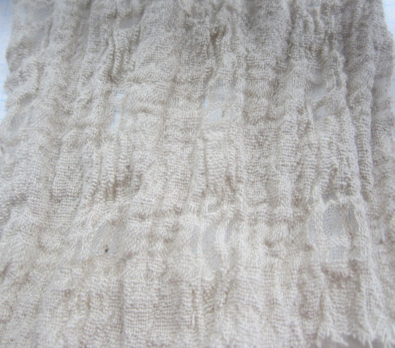 LS11849 Crinkle Texture Linen Silk Fabric Bubble Grid Jacquard White Beige Color For Dress Curtains 120 Cm 47 Width 10 Meters In From Home Garden