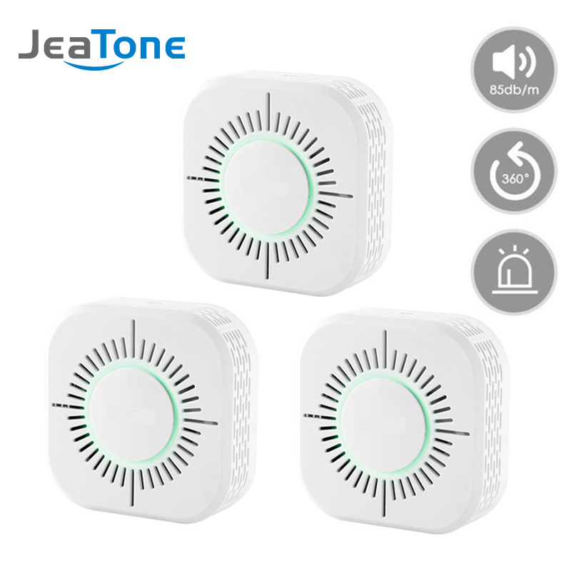 JeaTone 433MHz Smoke Detector Wireless Smoke Fire Alarm Sensor Protection For Home Warehouse Security Alarm System 3pcs/lot