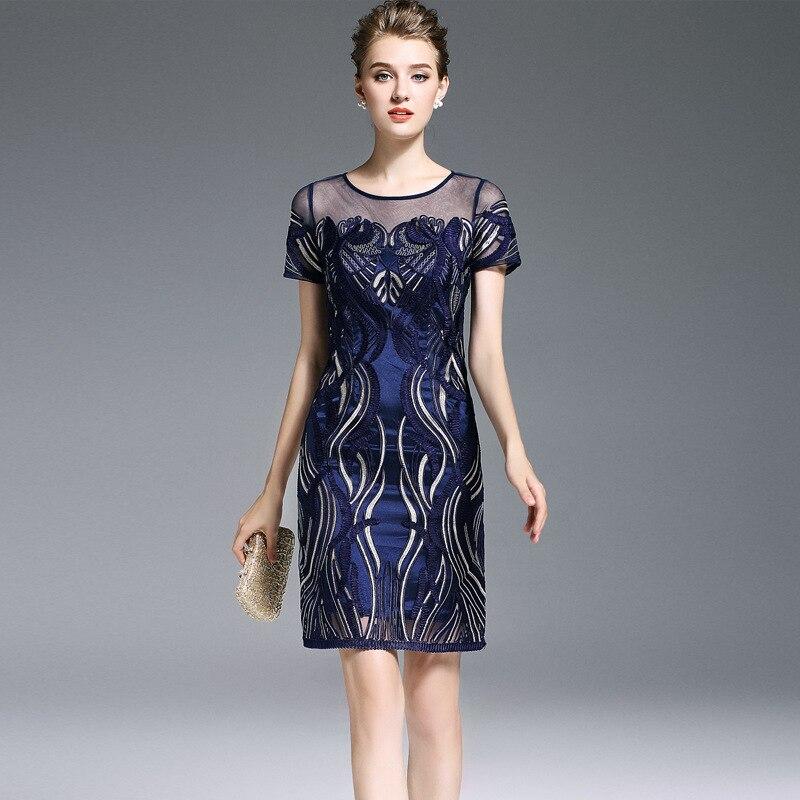 high end vintage royal embroidered slim dress 2017