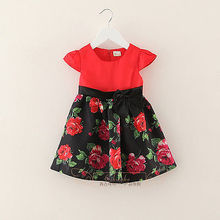 2016 Baby Kids Girls Dress Princess Party Flower Print Bow Gown Dresses 1-6Y