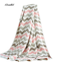 iDouillet Chevron Pattern 6 Layer Cotton Muslin Blanket for Baby Kids Toddler and Adult Summer Towelling Quilt Single Queen Size