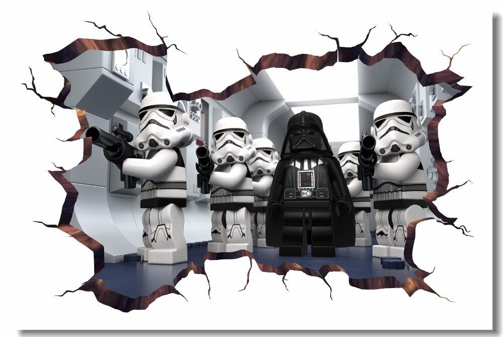 Custom Canvas Wall Mural Cartoon Movie Star Wars Poster Darth Vader Stormtrooper Wallpaper 3D Wall Stickers