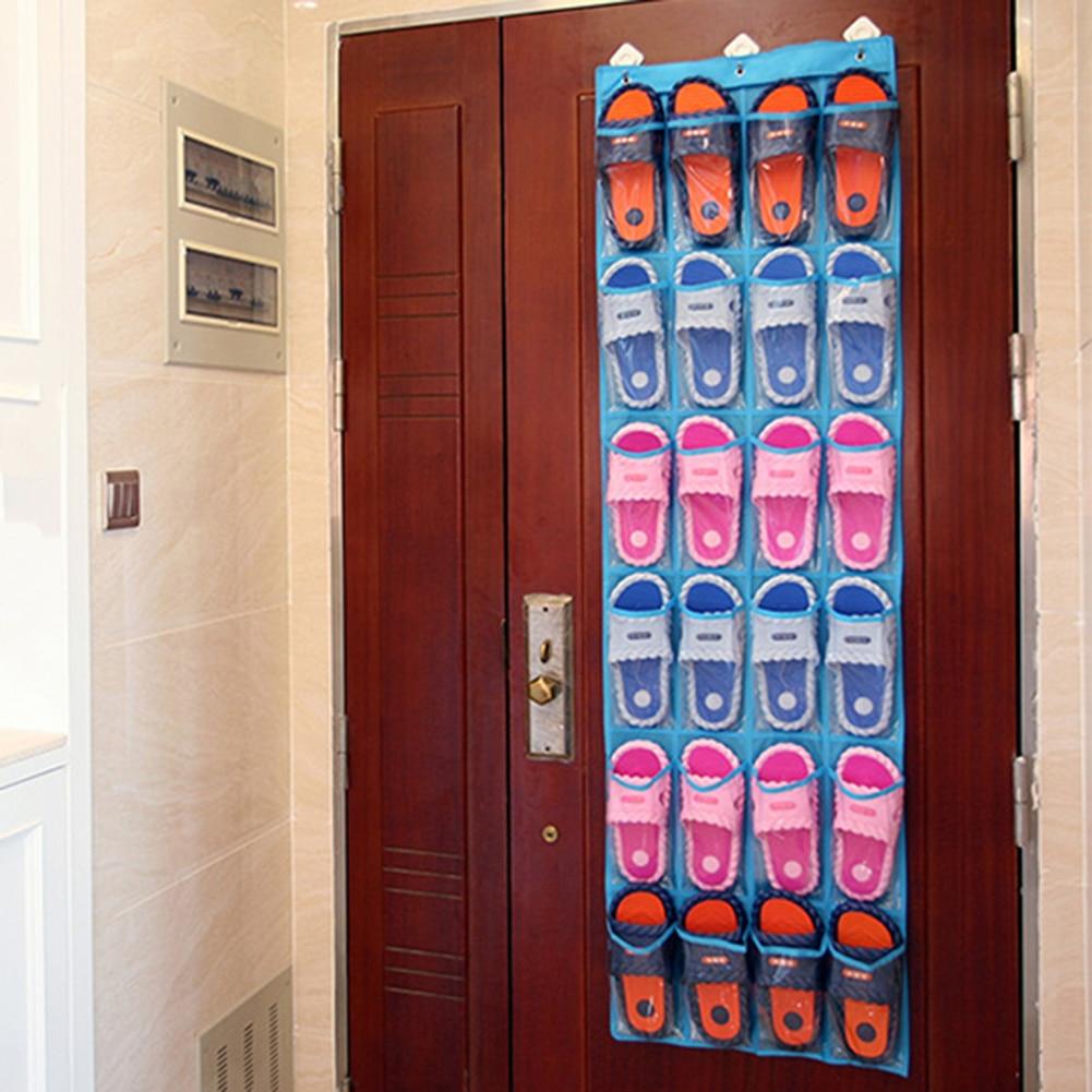 Porte Chaussure Derriere Porte €2.35 20% de réduction|24 poches sac de rangement suspendu porte chaussures  derrière la chambre porte salle de bain articles divers organisateur