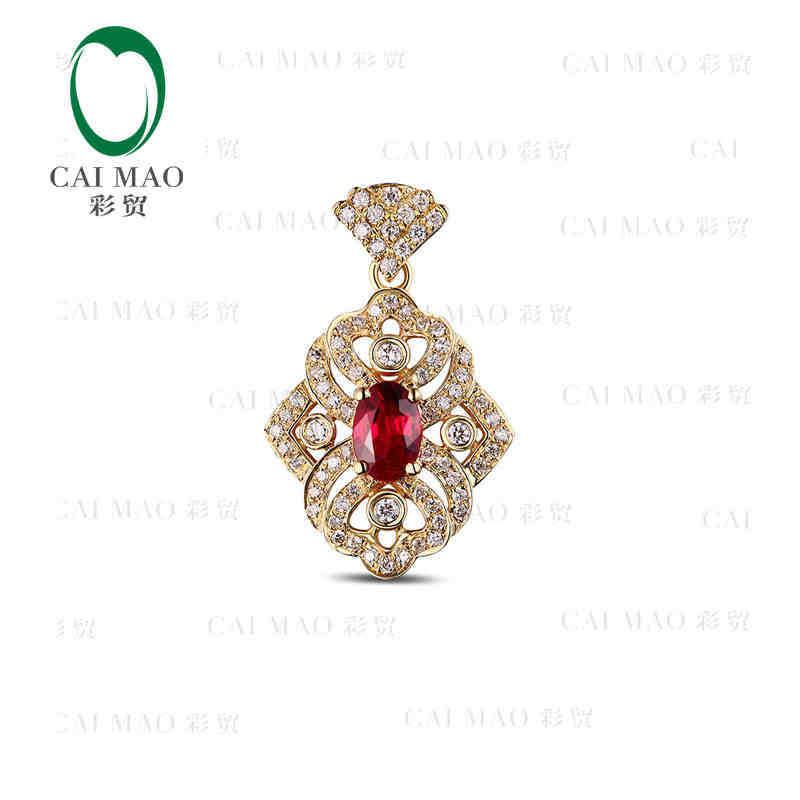 CaiMao 18KT/750 Yellow Gold 0.70ct Natural Red Ruby & 0.35 ct Full Cut Diamond Engagement Gemstone Pendant Jewelry caimao jewelry natural red ruby with pearl and diamond engagement 14ct yellow gold pendant
