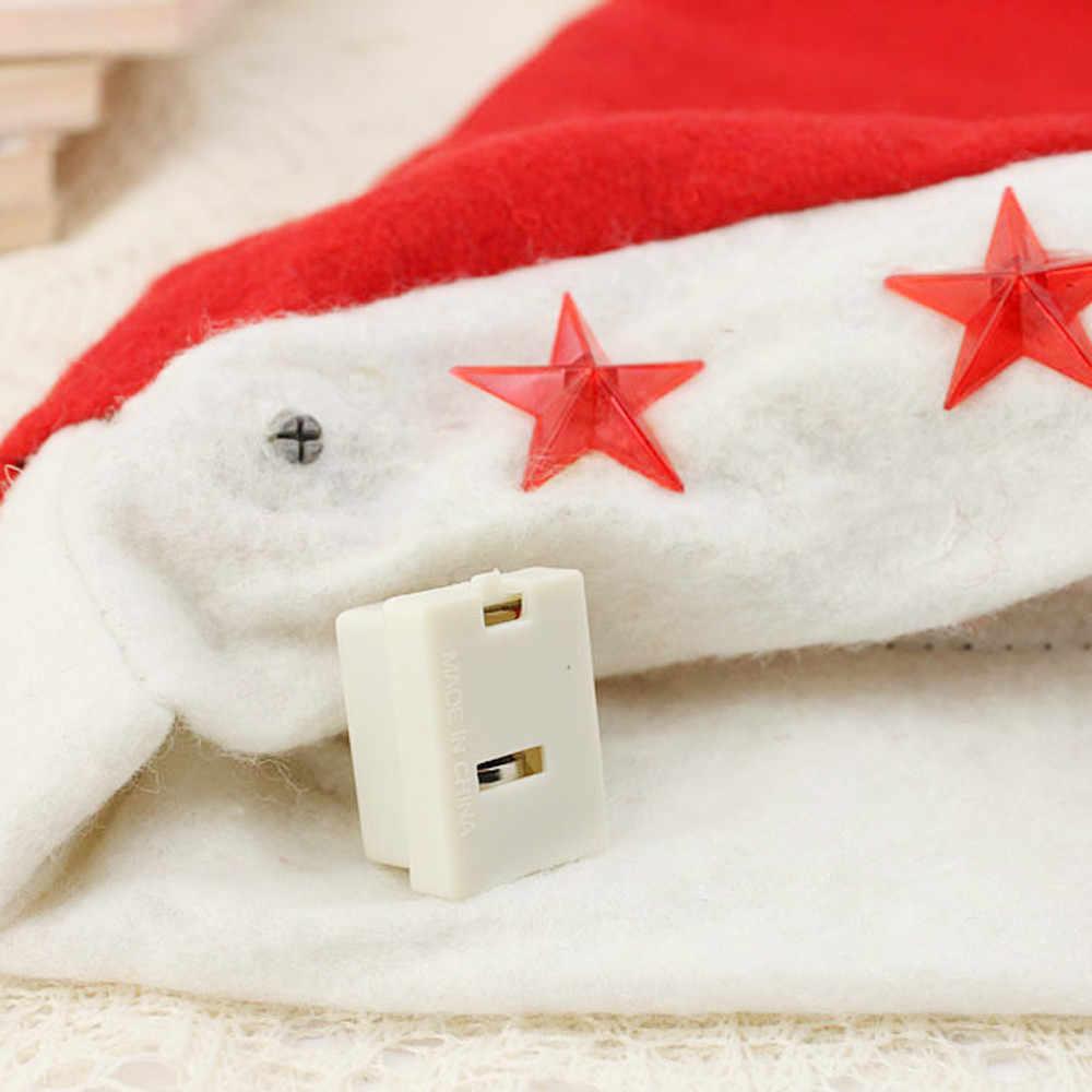Pesta Liburan Natal Anak-anak Dewasa Santa Claus Topi Natal Non-anyaman Topi Twinkle Bintang Cap Y712