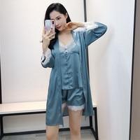 Female 3 Pieces Satin Sleepwear Sexy V Neck Cami+Shorts+Robe Home Wear Summer Kimono Bathrobe Gown Casual Pajama Pijama Set