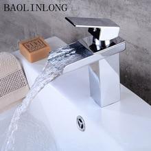 BAOLINLONG Chrome Brass Waterfall Bathroom Basin Faucet Deck Mount Vanity Vessel Sinks Crane Mixer Faucets Tap