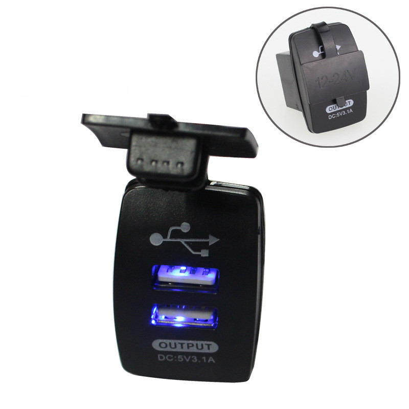 12-24V Dual <font><b>USB</b></font> Car <font><b>Charger</b></font> Rocker Switch 5V 3.1A Universal Auto Mobile Phone <font><b>Charger</b></font> For Car Motorcycle Electric Car Boat image