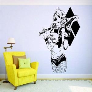Отряд Самоубийц, наклейка на стену Harley Quinn, Виниловая наклейка на стену для детской комнаты, современные аксессуары для украшения дома