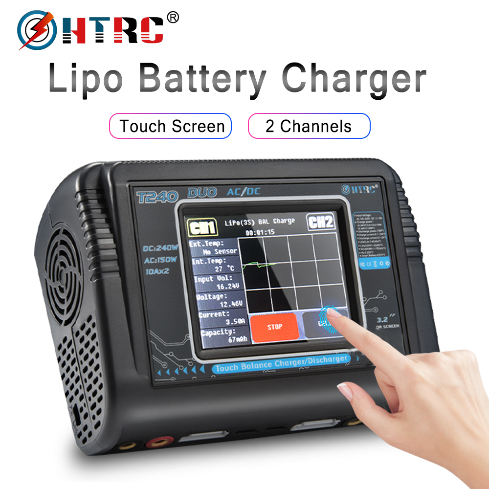 HTRC T240 DUO RC Charger AC 150W DC 240W Touch Screen Dual Channel Balance Discharger For