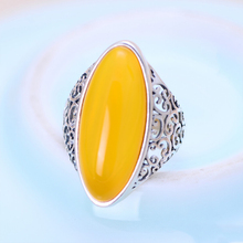 MetJakt Natural Yellow Chalcedony Ring with Hand-carved Hollow Pattern Solid 925 Sterling Silver for Women Vintage Jewelry