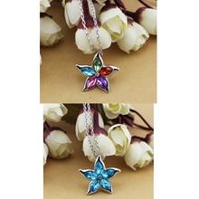 Austrian Crystal Sea Star Flower Pendant Necklace