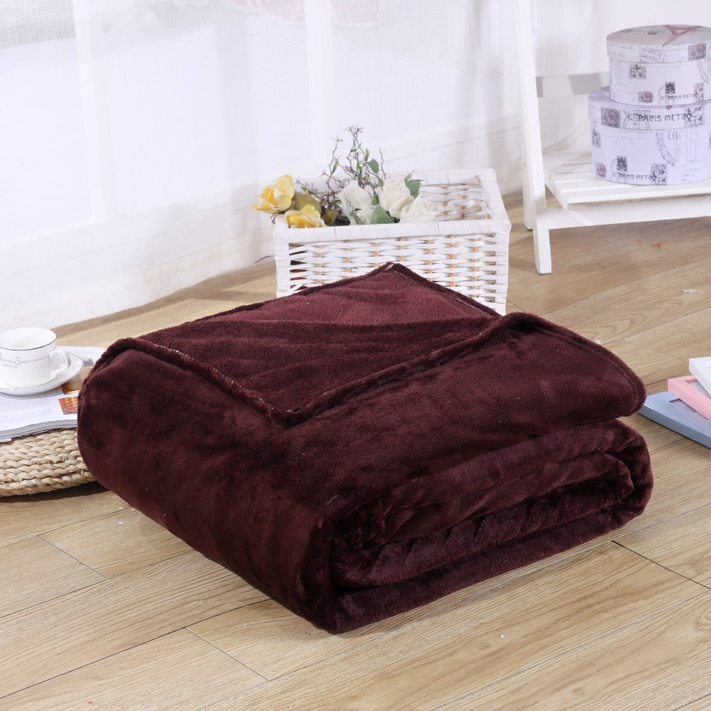 Solid Color Flannel Coral Fleece Blanket Super Soft Plaid Coverlet Sofa Cover