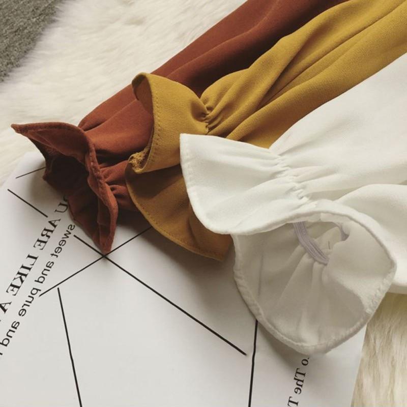 Camisa Tamaño W Moda Plus Blusa Gasa Larga Slim Las La De Señoras Mujeres c k Elegante Oficina Manga Ropa Arco Dama FETEBq