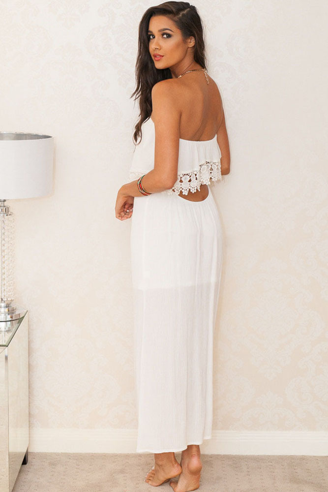 Maxi white dress with lace overlay