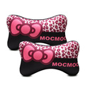 2PCS/LOT black cute women car headrest pillow bow leopard printed mocmoc cute neck pillows car-stying car decoration pp cotton