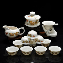 14 Pieces Kung Fu tea set,Chinese Pattern Include White Glazed Ceramic Porcelain Dragon 10pcs Tea Cups and Teapot