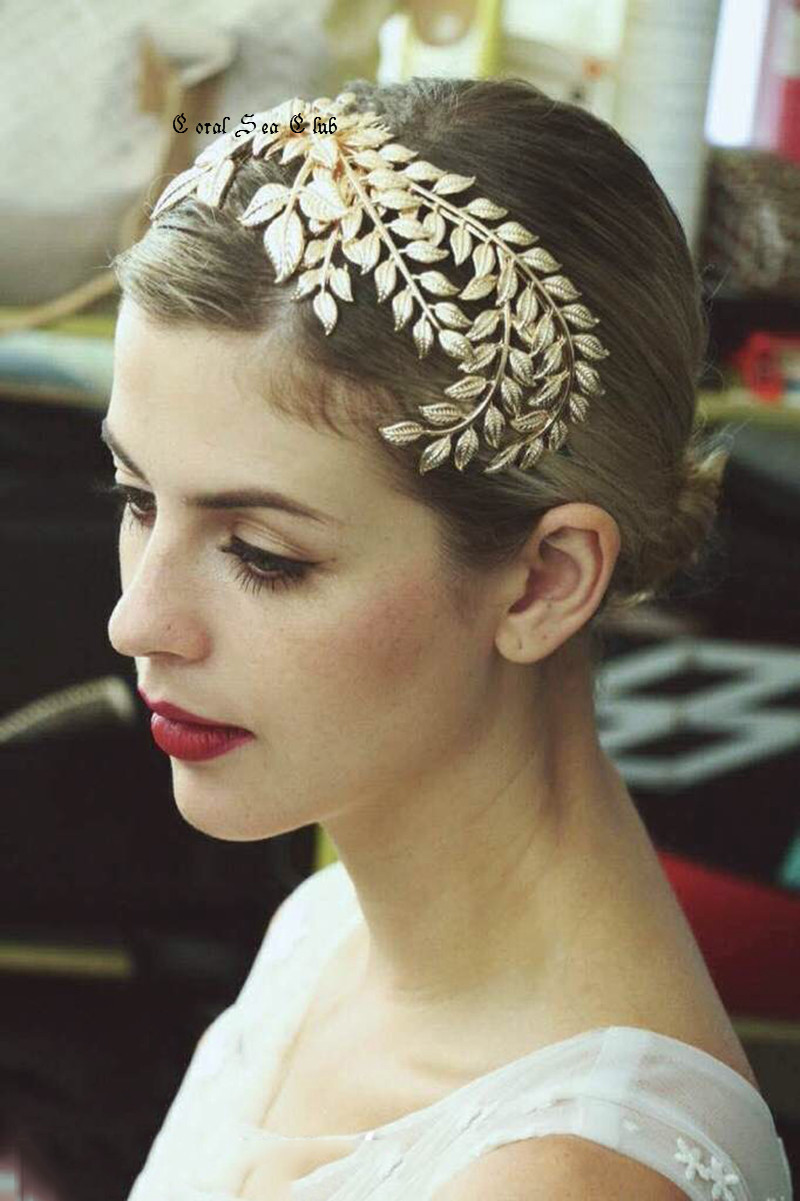 2015 hot sale vintage gold leaf hair accessories bridal headpieces