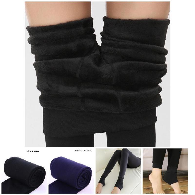Hot Women Heat Fleece Winter Stretchy Leggings Warm Fleece Lined Slim Thermal Pants HD88