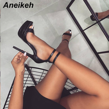 Aneikeh Fashion Serpentine Women Sandals Super High Heel Open The Toe G
