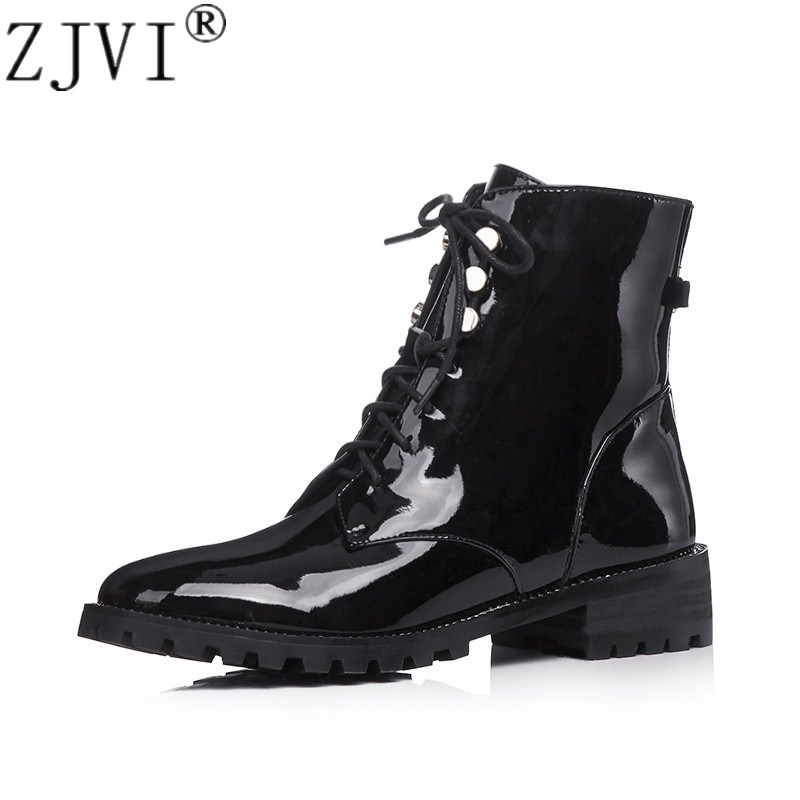 ZJVI womens Patent leather ankle boots women spring autumn square low heels 2019 woman ladies cross tied sliver gold shoes