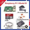 2016 Новое Прибытие Raspberry Pi 3 Модель B Starter Kit с ЕС/США/AU/UK Power + чехол + Вентилятор Охлаждения + 16 ГБ SD Card + HDMI + Медных Радиаторов