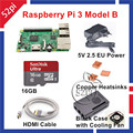 2016 New Arrival Raspberry Pi 3 Modelo B Starter Kit com UE/EUA/AU/UK cabo de Alimentação + caso Ventilador de Refrigeração + + 16 GB de Cartão SD + HDMI + Dissipadores De Calor De Cobre
