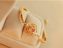 Fashion gold rose Flower Heart Bracelet Top Quality open bracelet cute yellow flower bracelet jewelry for female birthday gift(China)