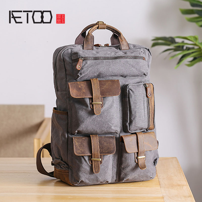 AETOO Shoulder bag, male canvas stitching leather backpack, retro outdoor travel bag, large capacity computer bagAETOO Shoulder bag, male canvas stitching leather backpack, retro outdoor travel bag, large capacity computer bag