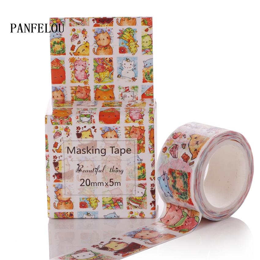 PANFELOU 2CMx5M fat cat cartoon Stickers border masking adhesive line paper washi tape DIY Scrapbooking Hand account