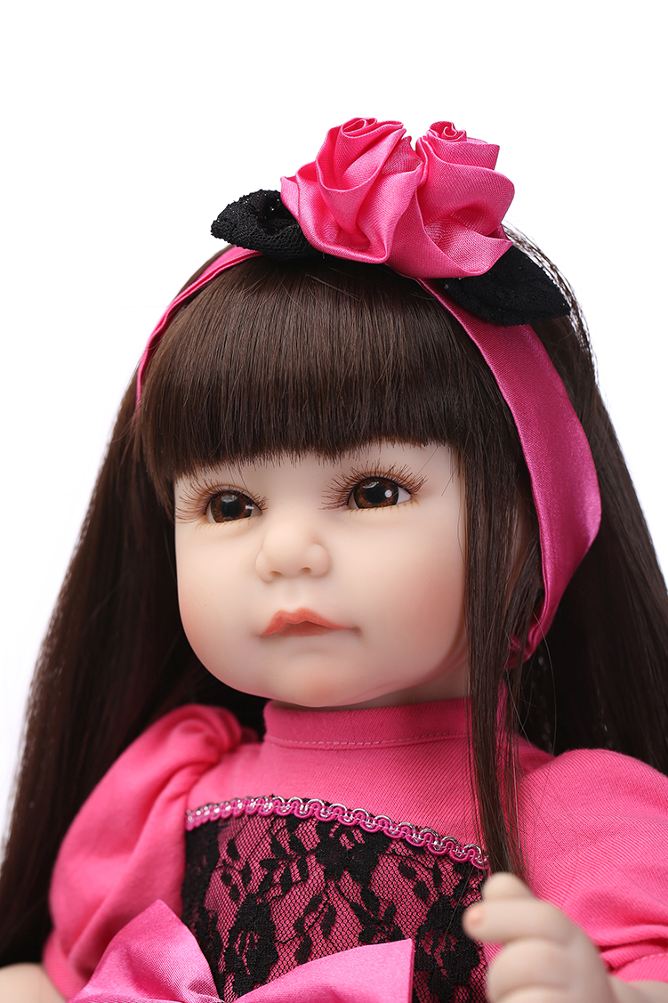 2016 NEW design Reborn toddler girl doll sweet baby doll Birthday Gift Toys for Girls with long wig pink wool coat doll clothes with belt for 18 american girl doll
