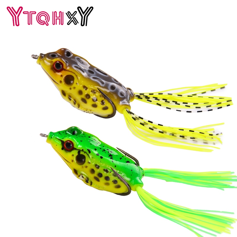 YTQHXY 65mm/14g Fishing Lures Treble Hooks Topwater Ray Frog Minnow Bait Snakehead Simulation Frog Fishing Lure YE-105 y0018 wholesale ray frog sets playing blackfish bait lures bait floating frog bait fishing