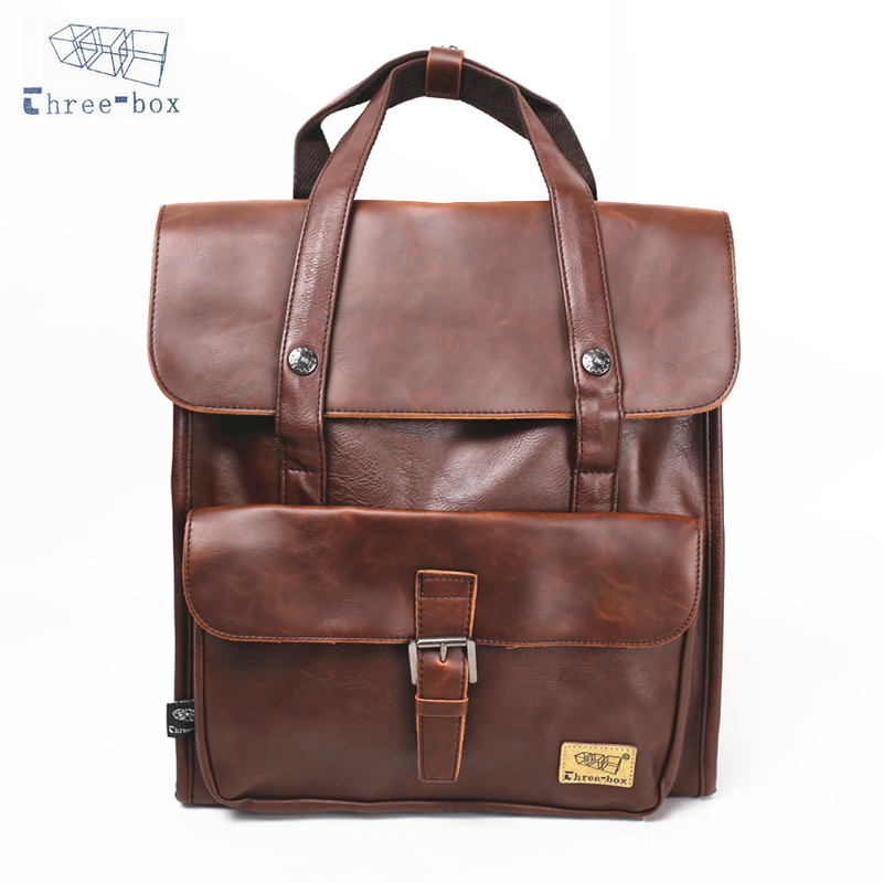 Three-Box Brand Design Women Men Vintage PU Leather Laptop Backpack Female School College Solid Shoulder Daily Backpacks 2343