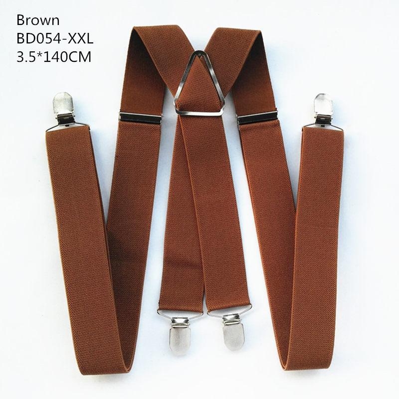 Одноцветные подтяжки унисекс для взрослых, мужские XXL, большие размеры, 3,5 см, ширина, регулируемые эластичные, 4 зажима X сзади, женские брюки, подтяжки, BD054 - Цвет: Brown-140cm