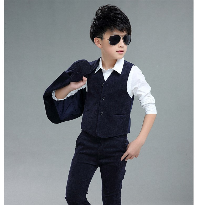 2018 Corduroy Suits For Weddings England Style Boys Suit Coat+Pant+Vest KS-1811 england style slim fit suit black size l