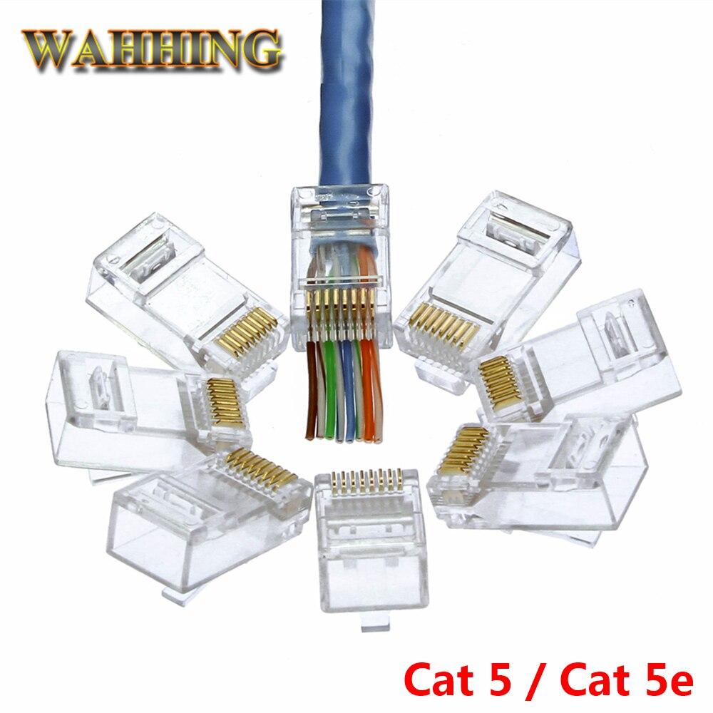 50/100pcs EZ rj45 connector cat5 cat5e network connector 8P8C unshielded modular rj45 plug utp terminals have hole HY1538 nastako 50 100pcs ez rj45 cat6 connector cat5e cat6 network connectors 8pin shielded modular plug rj45 jack terminals have hole